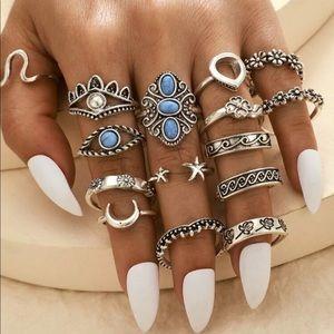 🆕 15 pc. Boho Flower Ring Set